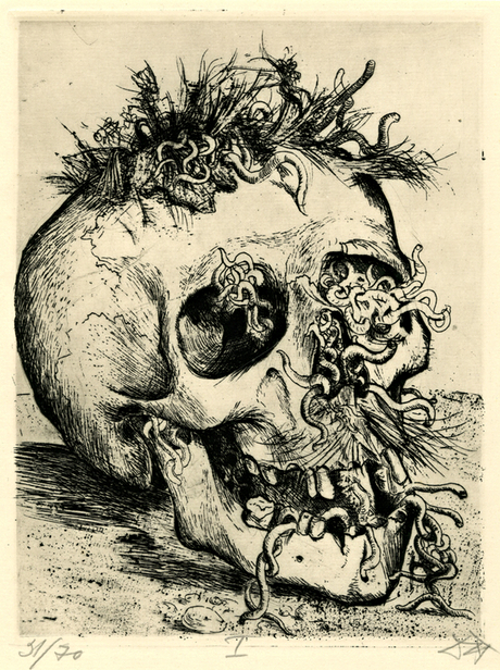 Otto Dix's Skull, from his 1924 set of first world war drawings, Der Kreig